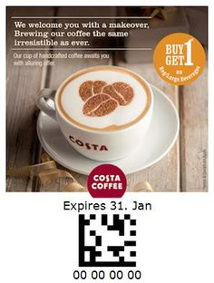 Costa Coffee - India Costa Coffee, Brewing, Latte, Coupon, India, Drinks, Tableware, Food, Drinking
