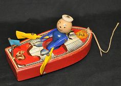 1950's Fisher Price Racing Row Boat Pull Toy