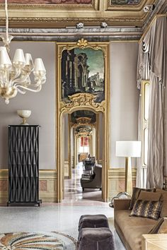 Have a look inside Fendi Casa's new headquarters, situated in Italy's Palazzo Orsi Mangelli. The palazzo was painstakingly restored by Parisian decorator Jacques Grange, and is now. Furniture, Fendi Casa, Luxury Furniture, Elle Decor, Luxury Home Furniture, Luxury Interior, White Furniture Living Room, Vintage Industrial Furniture, White Living Room