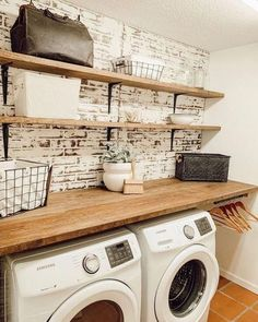 Laundry Room styles and decor to get your laundry needs organized. Laundry Room Remodel, Laundry Room Organization, Laundry Room Design, Laundry Decor, Laundry Room Shelves, Storage Shelves, Storage Organization, Organized Laundry Rooms, Small Laundry Rooms