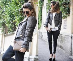 the drama of white and black contrasts, the kick-ass leather jacket and the playful high pony - fabulous!