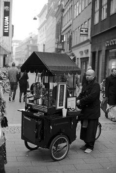 Coffee seller on the street in Copenhagen