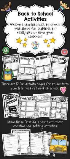 his back to school activity pack has 12 fun activity pages for students to complete the first week of school. These are an excellent way to get to know your students better. You can use them for morning work, centers, or just for fun.
