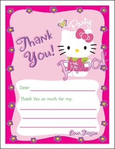 Create Free Thank You Card | Details about Set of 10 Hello Kitty Personalized Thank You Cards