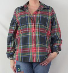 Nice Foxcroft Blouse 14w size Blue Green Plaid No Iron Shaped Fit Womens Shirt