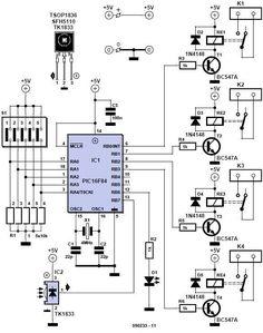 Home Remote Control Circuit Diagram Hobby Electronics, Electronics Basics, Electronics Components, Electronics Gadgets, Electronics Projects, Electronic Circuit Projects, Electronic Engineering, Electrical Engineering, Electrical Circuit Diagram
