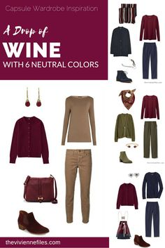 Capsule wardrobe colour palette inspiration - a drop of wine with 6 neutral colors