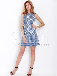 a72dbd1e3 Blue White Sleeveless Vintage Print Dress -SheIn(Sheinside) Mobile Site