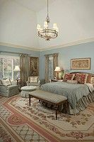 Master bedroom: Blue and rose bedding, blue walls, white woodwork, rose and creme AAubusson rug (thumbnail)