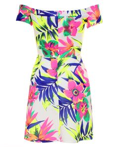 LOVE Tropical Print Scuba Pleated Cold Shoulder Dress - In Love With Fashion