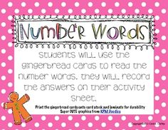 Great to help your students practice reading their number words! Teacher Freebies, Classroom Freebies, Math Classroom, Classroom Ideas, Math Resources, Math Activities, Educational Activities, Gingerbread Man Activities, Gingerbread Men
