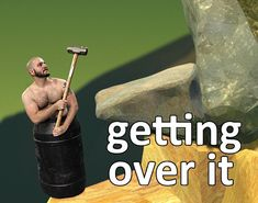 Jeremy from Achievement Hunter as the getting over it Barrel Man