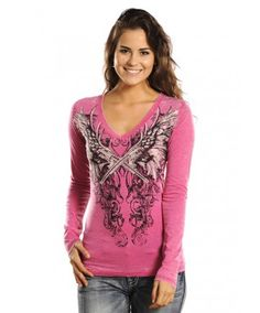 Rock & Roll Cowgirl Pink Crossed Guns with Wings Burnout T-Shirt