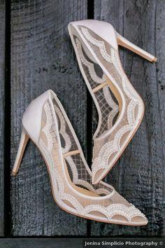 Wedding shoes - close toe, spring, tan, white, clear, transparent {Jenina Simplicio Photography}