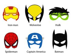 INSTANT DL-6 Superhero Mask Cut-Out  Birthday Party -Printable - Jpeg files