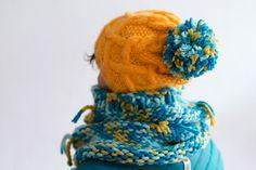 womens yellow beanie hat knit pom pom winter hats  by bandabag