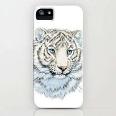 Young White Tiger  iPhone Case by S-Schukina - $35.00