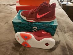 new product cc927 2d19f Boys  Shoes · Nike Kyrie 3 Youth Basketball Sneakers (GS) 859466-681 Team  Red Punch