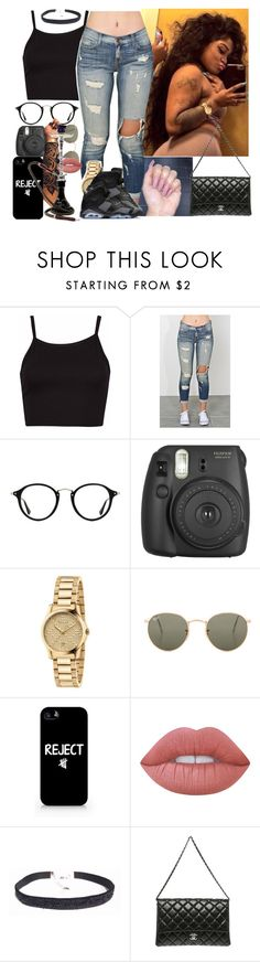 """"""""""" by melaninmonroee ❤ liked on Polyvore featuring Ray-Ban, Fujifilm, Gucci, Samsung, Lime Crime and Chanel"""