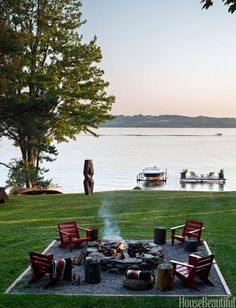 Second fire pit area  - the wood fire pit... love this look - perfect EXCEPT for it needs pavers instead of rock... *Becca