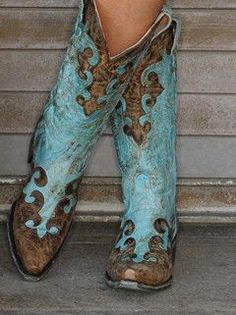 Dawson Women's Cowboy Boot Distressed Turquoise/Brown LB0023A