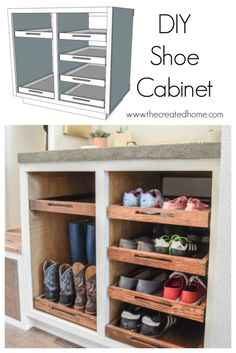 DIY Shoe Storage Cabinet with Trays #shoestorage #cabinet #dropzone #landingzone #organize #storage