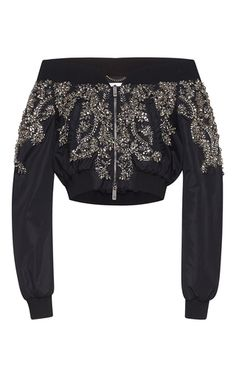 Off The Shoulder Nylon Bomber Jacket With Crystal Embroidery by ZUHAIR MURAD for Preorder on Moda Operandi