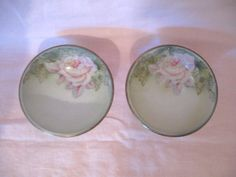 Set 2 Antique Germany German Porcelain Fingertip Berry Bowls Shabby Chic Big Pale Pink Roses Victorian Paris Shabby Cottage Chic by VintageChicPleasures on Etsy