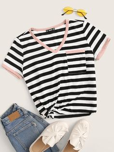 To find out about the Striped Print Pocket Patch Ringer Tee at SHEIN, part of our latest T-Shirts ready to shop online today! Latest T Shirt, Ringer Tee, White Casual, T Shirt Diy, T Shirts For Women, Clothes For Women, Spandex Material, Stripe Print, Types Of Sleeves