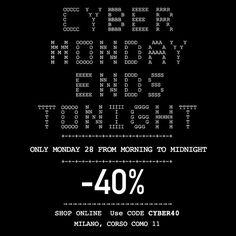 Only for today, Monday November the 28th, 40% discount on www.naughtydog.it Please use code CYBER40 at the checkout! Promotion available also at our 11 Corso Como store in Milano!