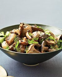 Roasted Mushrooms and Shallots with Fresh Herbs    For this earthy spring side dish, Su-Mei Yu tosses warm roasted mushrooms and whole shallots with a refreshing combination of dill, mint and parsley. The mushrooms are thought to ease flu symptoms, while the shallots and herbs help with congestion and coughs.