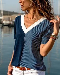 Pin by olga molina on cute clothes in 2019 blusas, roupas, b Umgestaltete Shirts, Casual Outfits, Cute Outfits, Color Stripes, Pulls, Refashion, Blouse Designs, Style Me, Fashion Dresses