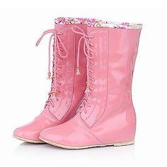 MissBoot Lackleder niedrigen Ferse Mitte der Wade Stiefel / Schnürschuhe mit Spitzen-up Flitterwochen Schuhe (mehr Farben) - http://on-line-kaufen.de/missboot/missboot-lackleder-niedrigen-ferse-mitte-der-mit