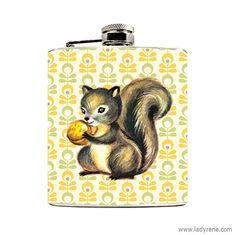 Cute Squirrel Hip Flask Mod Vintage Floral 6oz Flask Mens Flask Stainless Steel Wedding Favor Drinking Gift Camping Glamping