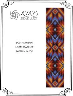 Southern sun ethnic inspired LOOM bracelet pattern in PDF instant download