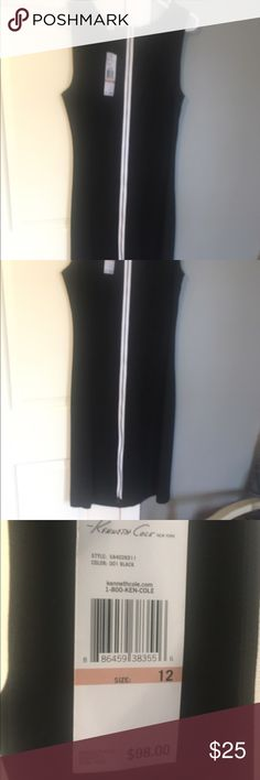 Sexy tank dress for work! Black KENNETH COLE 12 You're purchasing a new Kenneth Cole tank dress (stretch) with a white zipper that runs up the entire length of the back. Ruched slightly on left hip. Hits at knee. It's sexy and professional at the same time! Size 12. Never worn. Purchased and then gained weight )-: make my gain your gain too! Kenneth Cole Dresses