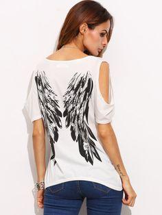 Camiseta hombro abierto alas estampadas-Sheinside