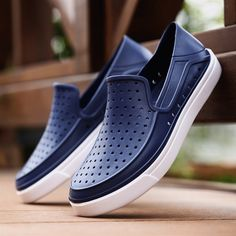 Men Hole Breathable Light Beach Shoes Flat Slip On Cool Casual Sandals - NewChic Mobile.