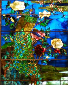 "Smithsonian American Art Museum, DC Label: John La Farge, ""Peacocks and Peonies I & II,"" stained glass, 1882."