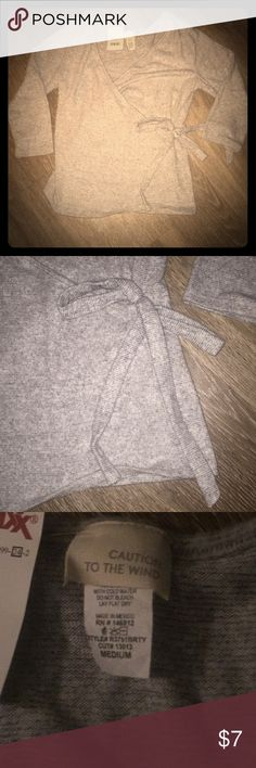 """Grey Three Quarter sleeve shirt NWT!!!!!!! Light grey """"Caution to the Wind"""" brand sweater. SUPER SOFT! Junior size MEDIUM. caution to the wind Tops"""