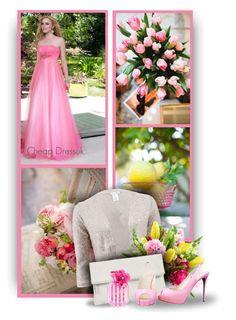 """""""Princess Tulle Strapless Empire Floor-Length Sleeveless Appliques Beading Ruching Pink Prom Dress by Cheap Dressuk"""" by christiana40 ❤ liked on Polyvore featuring Oscar de la Renta, Whistles, Christian Louboutin and Victoria's Secret"""