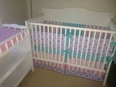 Pink, aqua and purple nursery. Custom Crib Bedding Set in Pink Aqua and by butterbeansboutique, $340.00