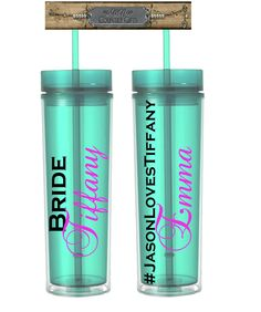 One Bride Tumbler, Bachelorette Tumbler, Hashtag Tumbler, 16 oz Mint Acrylic Personalized Tumbler Water Bottle - pinned by pin4etsy.com