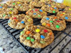 oatmeal m cookies Great for lunchboxes. My healthy changes: use white whole wheat flour, more oats, scant on the 3/4 cup brown sugar