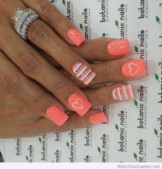 Botanic nails orange, white and gray with hearts