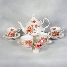 "ROYAL ALBERT ""CENTENNIAL ROSE"" TEA SET - 4 CUPS & SAUCERS, TEAPOT, CREAM/SUGAR  in Pottery & Glass, Pottery & China, China & Dinnerware, Royal Albert | eBay"