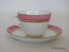 Victorian Tea Cup & Saucer.  Nice eaxample of a midVictorian Tea Cup & Saucer. Pink & white colouring with hand applied gilt and white mori...