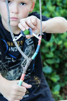 Go on a hunt for 'Y' shaped sticks when you're out on a walk, they're perfect for whipping up a kids craft for stick slingshots!