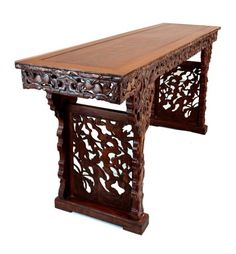 chinese carved wood table | 185: CHINESE CARVED WOOD ALTAR TABLE : Lot 185