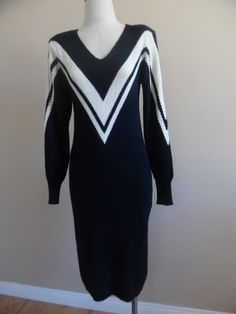 Vintage 1980s Black and Ivory Color-Blocked Sweater Dress with Chevron Detail by John Richard. by LetasVintage on Etsy